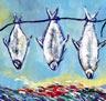 Fish Story 3  300mm x 300mm -